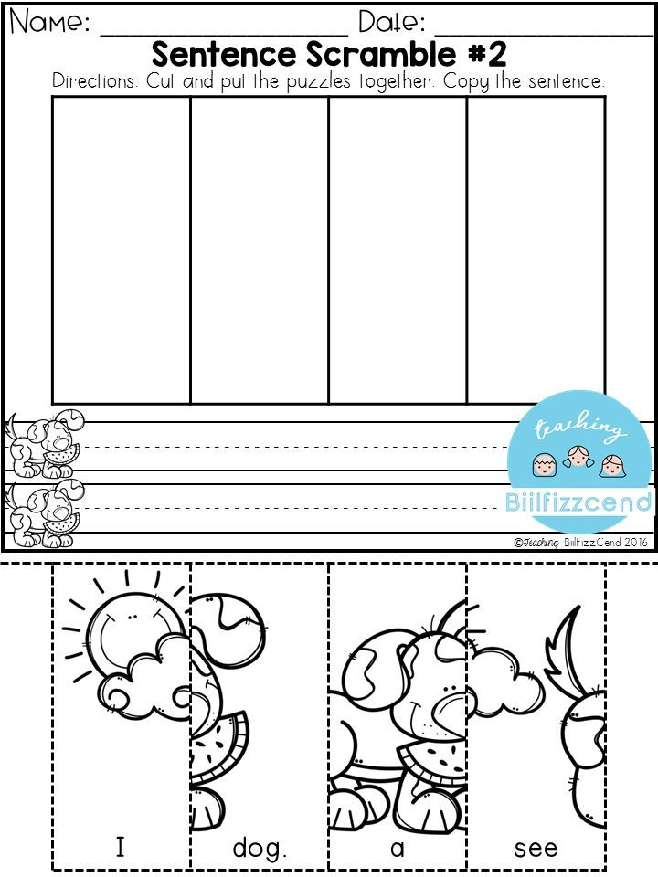 FREE Sentence Building for preschool and kindergarten  These sentence building set was made with a preschooler in mind. These are a great way to practice fine motor skill. Students get to cut the puzzles and put the puzzles together, students also get a fun way to practice their handwriting. These pages are fun to use throughout the year. These are also great for beginning readers in kindergarten to practice building sentences and sentence structures.
