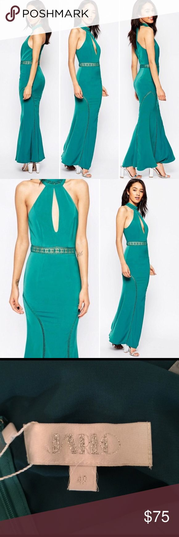 ASOS Petite Teal Halter Maxi with Crochet Inserts. This lovely teal maxi is by ASOS Petites Jarlo London. It is fully lined with crochet details at the waist and throughout the dress. Halter neckline, keyhole front detail, dropped armholes, fishtail hem and back zip closure. The fit is close cut and the fabric is silky woven 100% polyester and has NO STRETCH. THIS DRESS RUNS SMALL. Pls READ MEASUREMENTS. The size tag reads UK 4P. Which is equivalent to US 0P. Measures more like a US size 00…