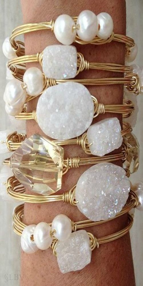 White crystal raw stone bracelet bangles jewels jewelry. For more…
