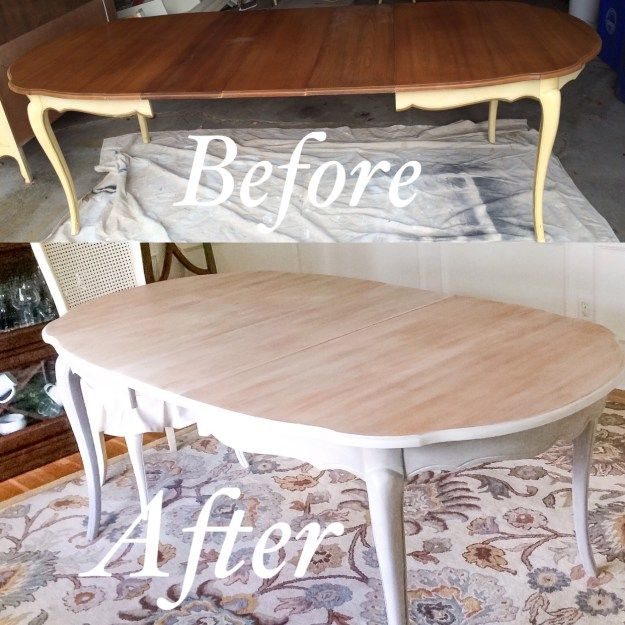 Chalk Paint Kitchen Before And After: French-provincial-dining-table Makeover-before-and-after