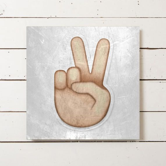 This unique canvas was designed by me of the Peace Sign or traditionally called the Victory Hand Sign emoji. Emojis are so popular with the younger generation today so this would be perfect to hang in your childs room, depending on what their favorite emoji is!  Name: Peace Sign Emoji  Sizing: Please choose a size from the drop-down box. If you would like a different size than what we have in our drop down box please contact us for info and pricing. =======&...