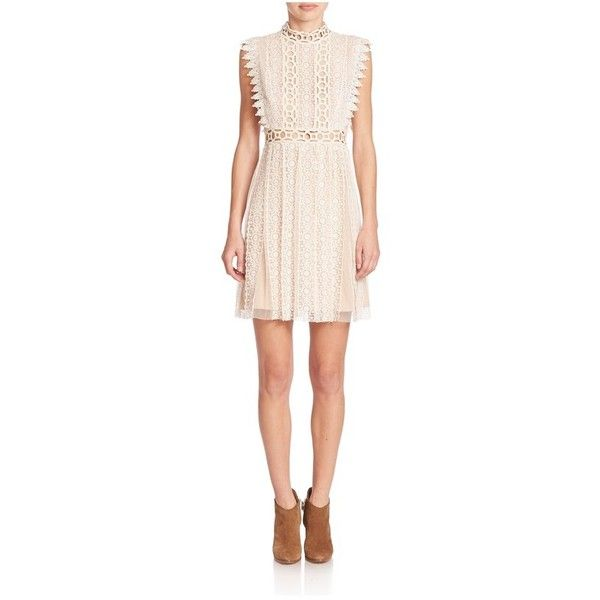 Free People Lace Cutout Halter Dress ($90) ❤ liked on Polyvore featuring dresses, cream, midi, lace halter dress, lace cut out dress, cream cocktail dress, cream lace dresses and halter dress