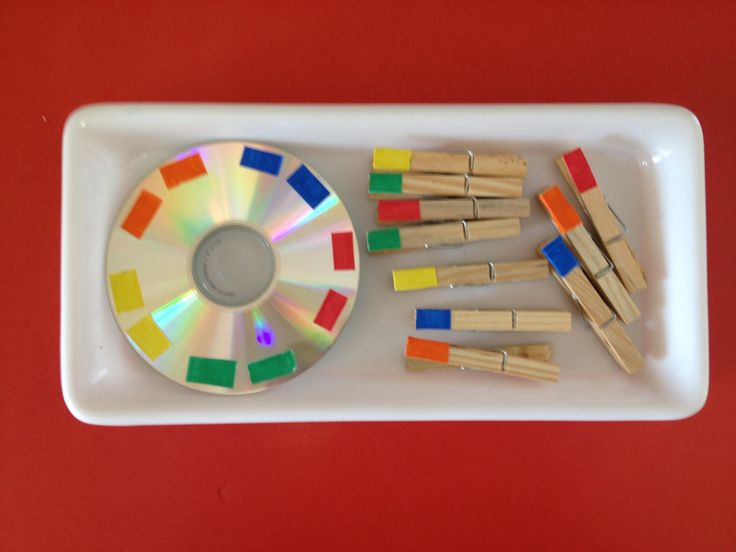 """I would divide the CD into sections and would write the colour names in French (written out with words).  Put in a ziplock baggie.  This could be an activity to do at a centre, or a """"J'ai fini"""" activity to keep on the cart, or a partner activity when first learning the colours."""