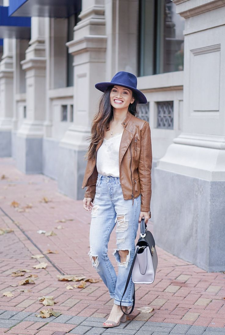 leather jacket, brown leather jacket, moto leather jacket, mom jeans, distressed jeans, navy felt hat, Steve Madden Carson sandal, white lace cami, Zac Zac Posen bag, spring outfit