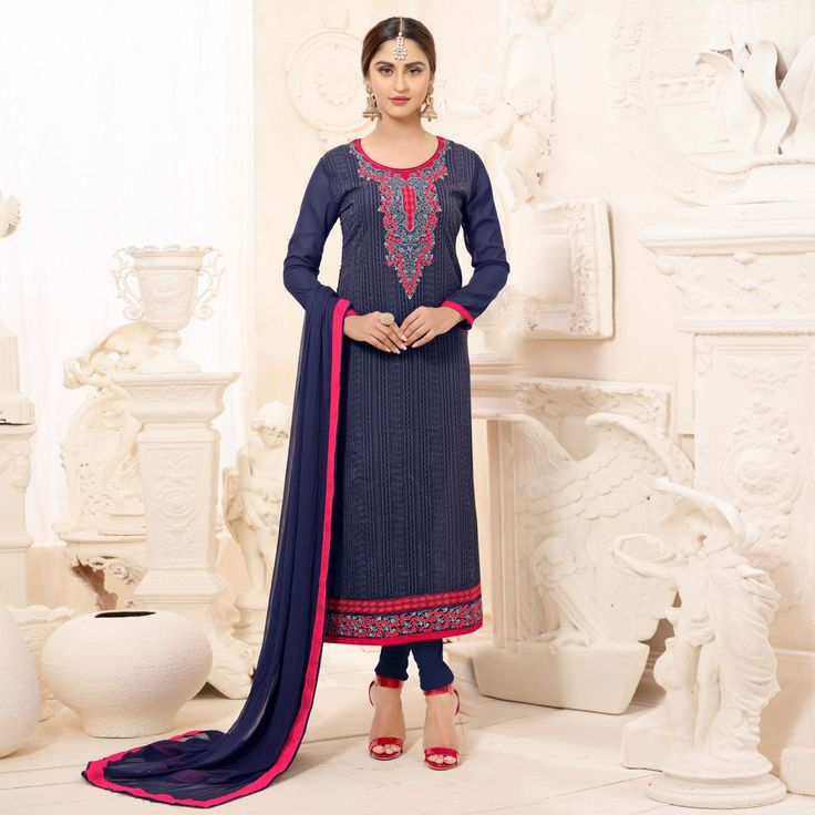 Buy Midnight Blue Straight Cut Churidar Suit online India, Best Prices, Reviews - Peachmode