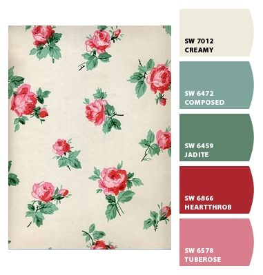 Vintage Wallpaper and complimentary paint chips - color palette color inspiration