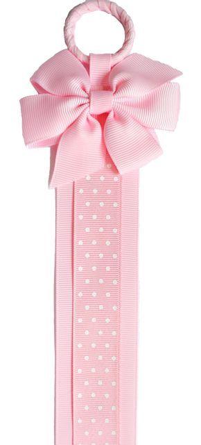 Boutique Hair Clip & Hair Bow Holder (Pink Bow/Pink Dot Ribbon)