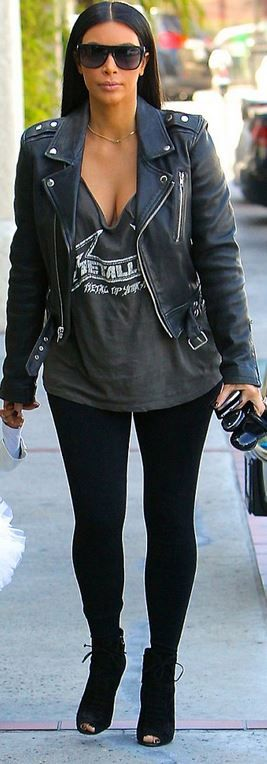Kim Kardashian: Sunglasses – Saint Laurent  Jacket – BLK Denim  Shoes – Tom Ford