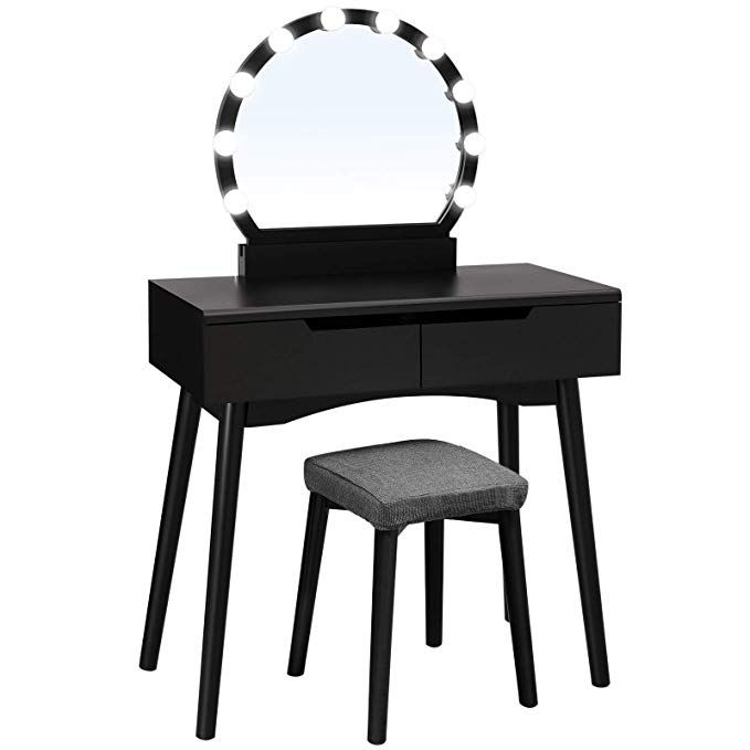 Vanity Table With Lights Set, Black Vanity Set With Lighted Mirror And Stool