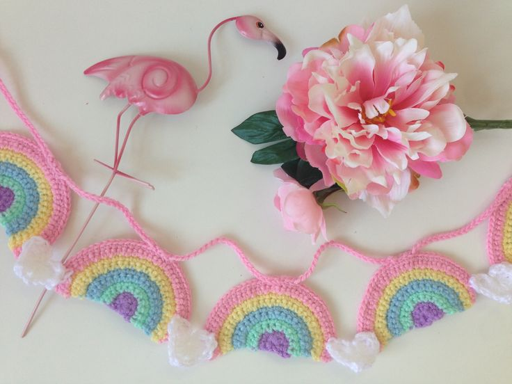 Pastel rainbow garland. Handmade crocheted garland sure to brighten up any playroom or kids bedroom.