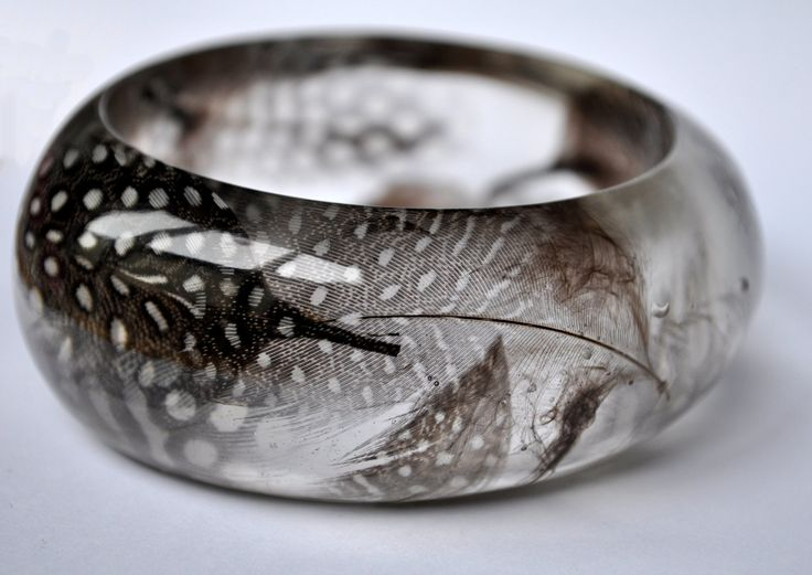 Feather Resin Bangle. Resin Jewelry.  Limited Edition. Bracelet. Cunky Bangle. Guinea Fowl Feathers. Feather Jewelry. Statement Jewelry.. $50.00, via Etsy.