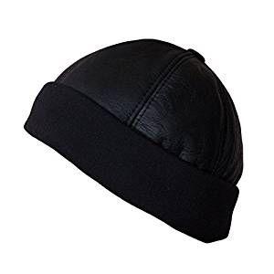 Dazoriginal Plain Black Leather Unisex Beanie for Men / Women - Insulated Beanie - Cuffed Heavy knit Winter/Ski Thermal Hat Beanie - Plain Basic Skully One Size: Amazon.co.uk: Sports & Outdoors