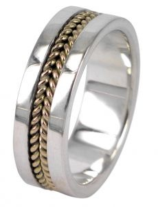 Plain Twist wedding ring in sterling silver and 9ct yellow gold