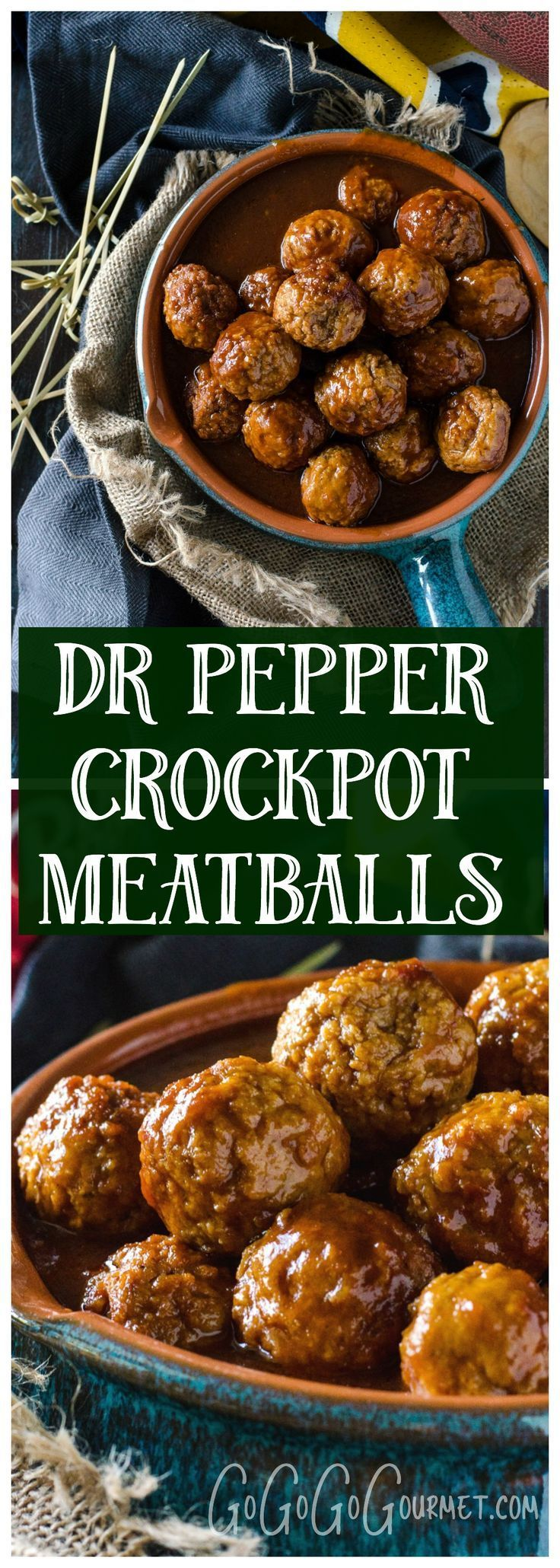 Dr Pepper Crockpot Meatballs are a great tailgating option- love that sweet and tangy sauce! @Go Go Go Gourmet