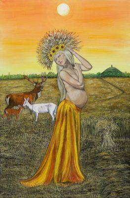 Ker by Elluna Art A3 Size Print  Ker, Mother of the abundant harvest, grain Goddess of plenty.