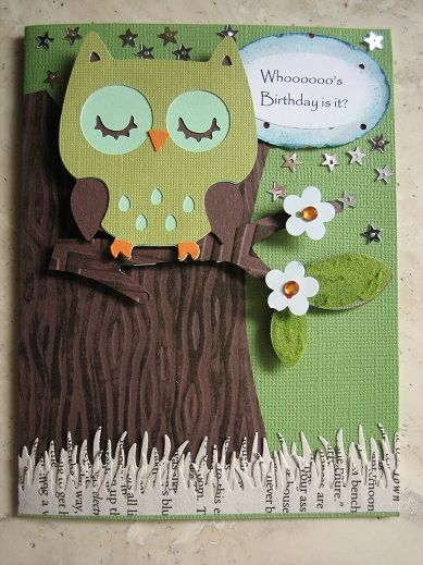 Cricut Owl Birthday Card. Create a Critter Cartridge.