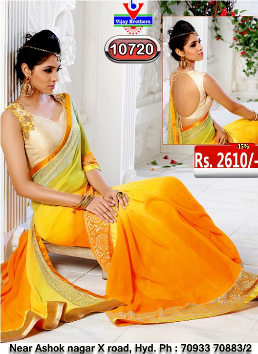 Georgette with yellow colour