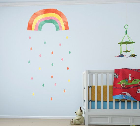 Rainbow Wall Decal Large  Watercolor Rainbow Wall by ecowalldecals