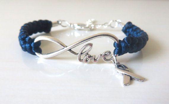 Blue Awareness LOVE Ribbon Charm Bracelet Colon Cancer Arthritis Child Abuse Dystonia Reyes Syndrome Chronic Fatigue Myalgic Encephalopathy #chronicfatiguesyndrome #chronicfatigueawareness