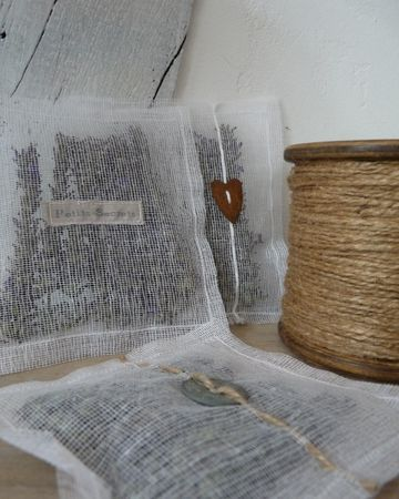lovely lavender sachets- unusual as lavender is left on the stems - nice idea