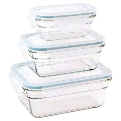 Glasslock 6-Piece Rectangle Glass Food Storage Set, Light Clear