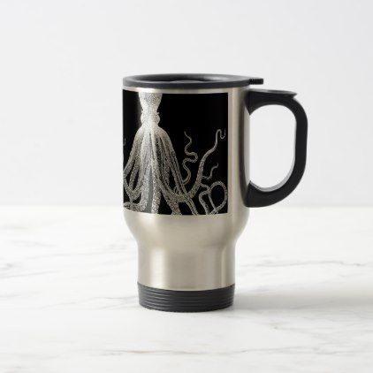Black and white octopus travel mug - drawing sketch design graphic draw personalize