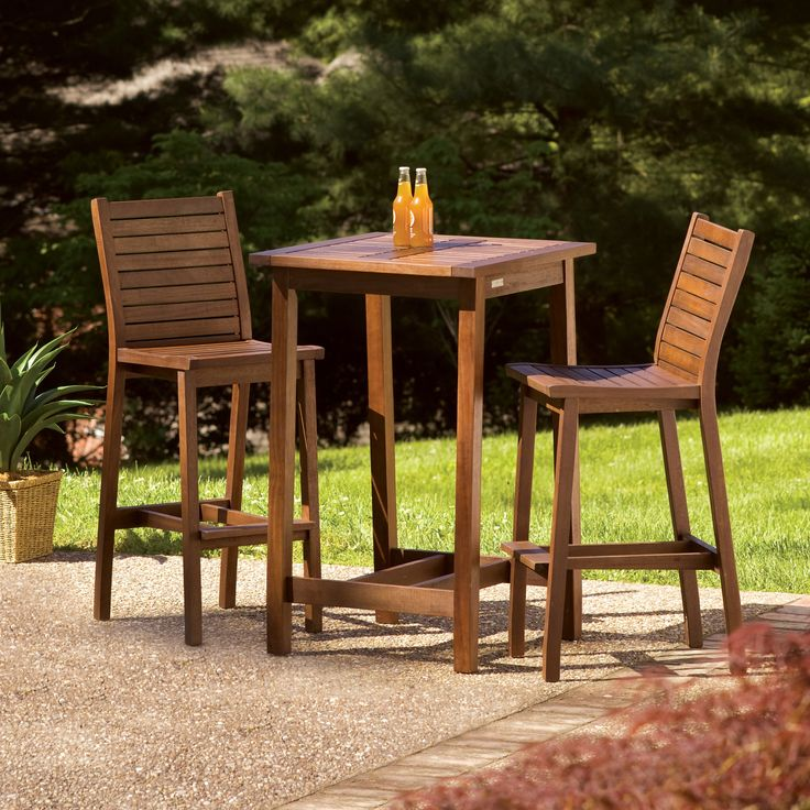Square Bar Height Patio Dining Table Set