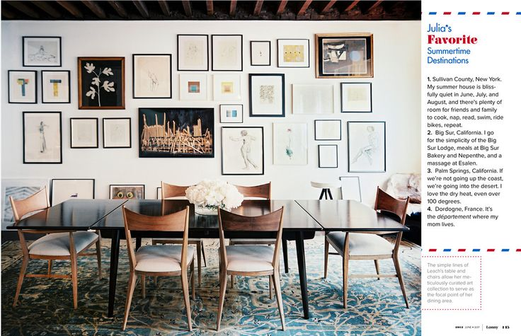 want those chairsDining Rooms, Chairs, Frames, Interiors, Gallery Walls, Diningroom, Gallerywall, Art Wall, Lonny Magazine
