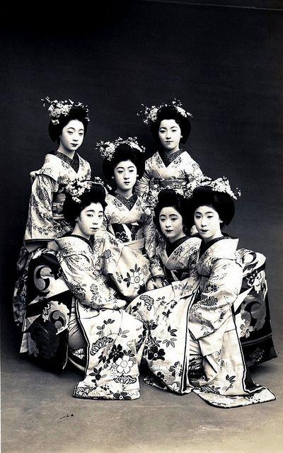 Odori 1928 - A group of Maiko Girls (Apprentice Geisha) dressed for the Miyako Odori (Cherry Dance), sometime around 1928. Maiko Fukiko in the centre and Maiko Tomeko to her lower right.