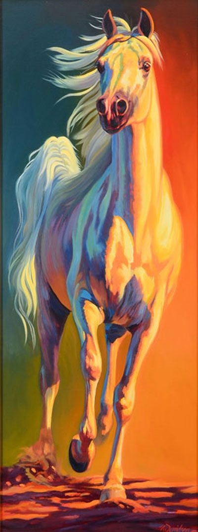 Golden Palomino colored horse painting, simply stunning! I love the light! Nancy Davidson