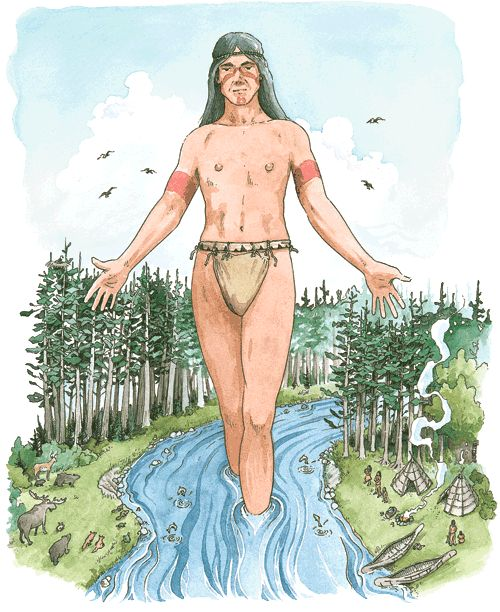 The Creator sent a bolt of lightening across the sky that created Wskitqamu - the Earth. From that same bolt, Glooscap was created out of the dry earth. Glooscap lay on Wskitqamu, pointing his head, feet and hands to the Four Directions. Glooscap became a powerful teacher, a supernaturally strong spiritual leader (kinap) and a healer (puoin) who used his powers for the wellbeing of all.