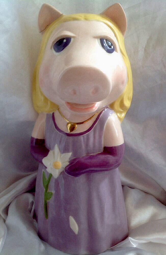 "Vintage #MissPiggy Bank #Muppets Ceramic Big 13"" OOAK Figure Hand Painted Purple"