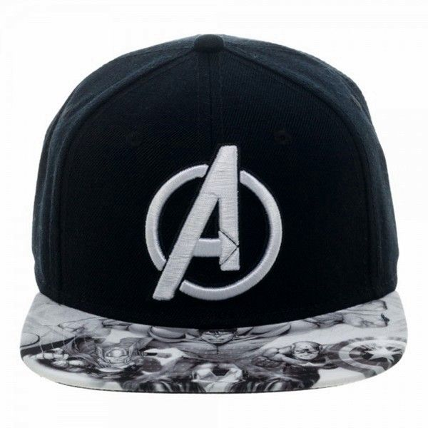 Marvel Comics AVENGERS Logo Sublimated Bill Snapback Baseball CAP/ HAT ($20) ❤ liked on Polyvore featuring accessories, hats, baseball cap hats, sport hats, baseball hats, baseball cap and sports snapback hats