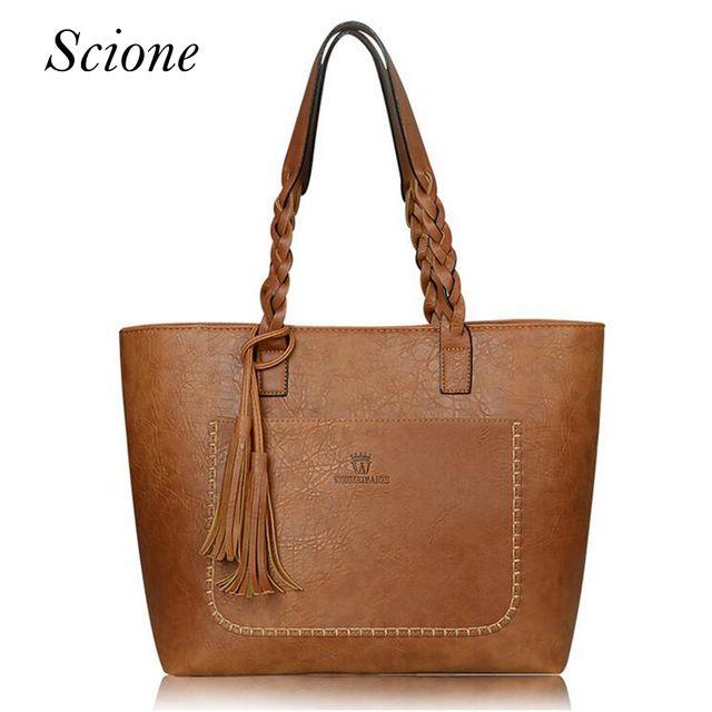 Limited Offer $16.64, Buy 2017 Famous Brand Leather Handbag Bolsas Mujer Large Vintage Tassel Shoulder Bags Women Shopping Tote Bag Purse sac a main Li533