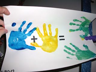 WORTH IT: This was a really fun activity to do with the kids.  I put them in groups of three and each kid/group did a different color (results were orange, green, and purple).  I didn't have long paper so we used regular sized card stock.  It worked with their little hands.  Color activities- paint both hands different colors, then rub together to make new handprints!