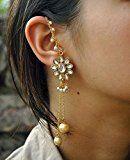Abhika Creations Women's Golden Kundan Kanauti and pearls with Chain Handmade Earrings $14.99