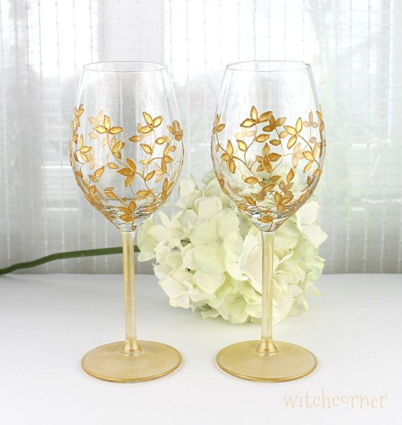 Wine Glasses, Wedding glasses,  Gold Toasting Glasses, Gold Floral Design, Hand Painted Wine Glasses, Set of 2, Gold Wine Glasses