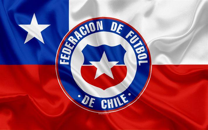 Download wallpapers Chile national football team, logo, emblem, flag Chile, football federation, World Championship, football, silk texture