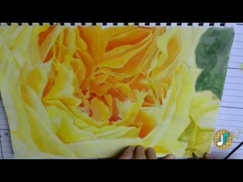 I made an art! | Yellow Rose with Acrylics | Sound Waffles - YouTube