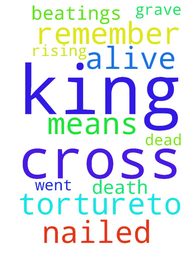 Jesus and the cross -  Jesus went from the beatings and tortureto being nailed to the cross to rising up from the grave JESUS IS THE KING OF KING JESUS IS ALIVE NOT DEAD We are to remember his death and what it means to us.  Posted at: https://prayerrequest.com/t/Cq0 #pray #prayer #request #prayerrequest