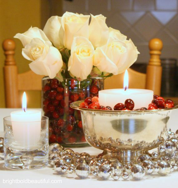 Holiday Vignettes | white roses + cranberries: