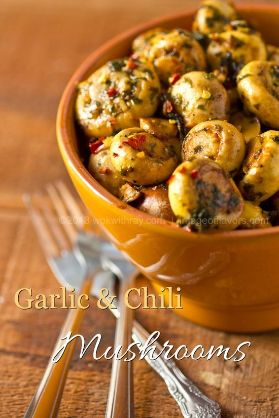 Garlic and Chili Mushrooms - A spicy bowl of goodness @Renee Peterson Peterson Peterson Peterson King Soileau with Ray