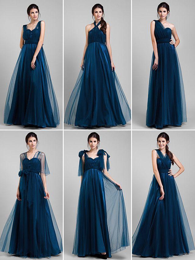 Convertible Dress Floor-length Tulle A-line Dress (1739560) - USD $ 71.99