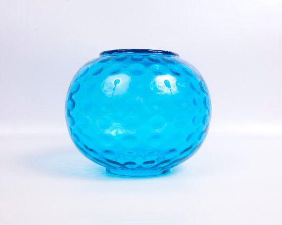 Verre Turquoise Vintage empreinte Vase grand rond Art bleu sarcelle verre Globe forme pièce maîtresse