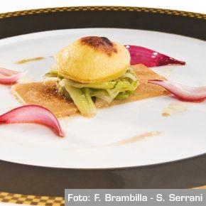 Cialson con coda di bue, gratin di acciuga e puntarelle. Chef Filippo Gozzoli  http://www.identitagolose.it/sito/it/ricette.php?id_cat=12&id_art=666&nv_portata=3&nv_chef=&nv_chefid=&nv_congresso=&nv_pg=1