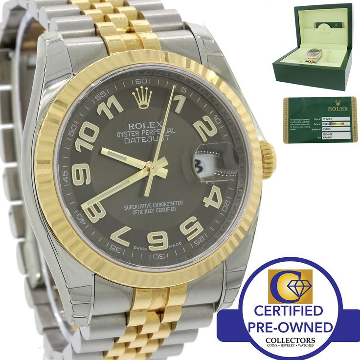 MINT Rolex DateJust Jubilee 36mm 116233 Engraved Bronze Steel Two Tone Watch B&P