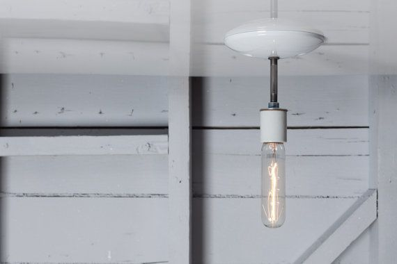 This Custom Made to Order Industrial Ceiling Light comes with  -Ceramic Socket in Black or White (250V Max) -Black or White Ceiling Canopy -2 1/2in Long X 1/8in Wide Steel Pipe -UL Listed  Can be mounted on the Ceiling or Wall.  Dimensions Ceiling Canopy- 4 3/4in Around with Universal Mount  Rated for 60 Watts Max.  Electrical Lead wires and Socket will work anywhere in the world.  To add a Pull Chain On/Off Switch to this light, add this listing to your cart- http:/&...