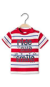 Babyshirt met korte mouwen van biokatoen in wit / rood