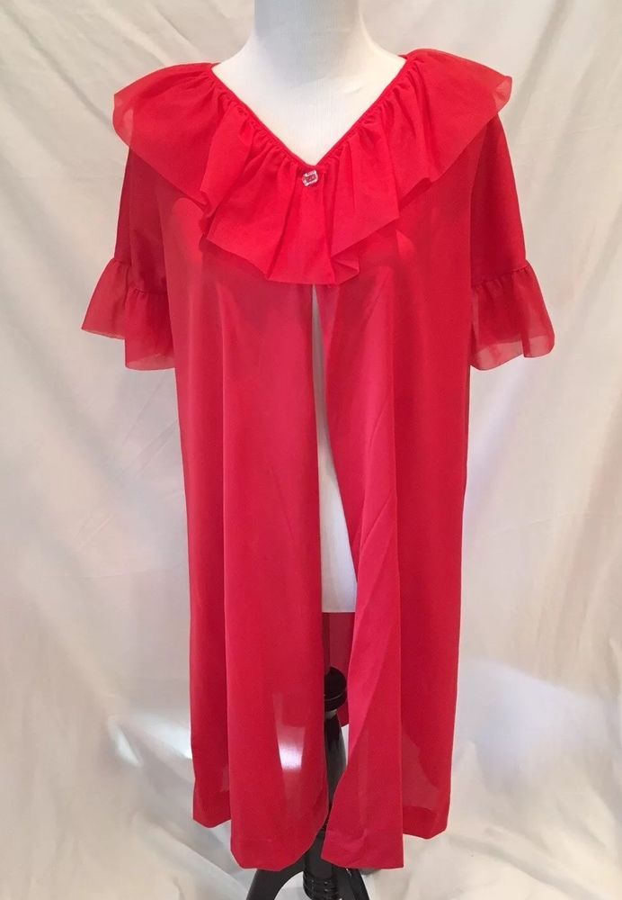 Vtg LeVoys Dressing Gown Robe Red Sheer Nylon Chiffon Ruffle No Tag See Measures #LeVoys #Gowns