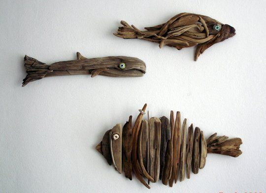 I love driftwood. I suppose it reminds me of all my happy days of visiting the beach. And after a storm, the beaches can be overwhelmed with wood, large and small. Make your own, or enjoy some by an artist.